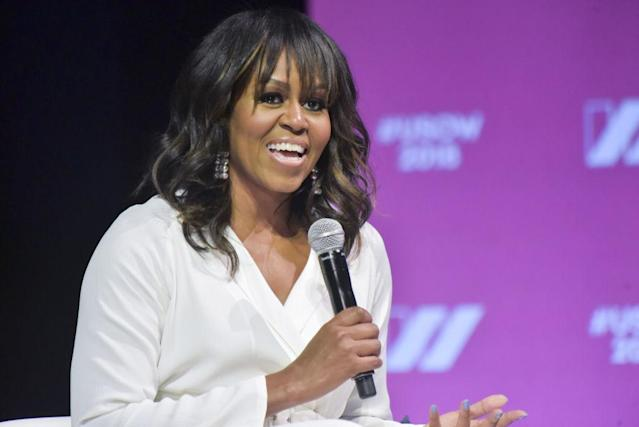 Former FLOTUS Michelle Obama speaks at the United State of Women Summit 2018 on May 5 in L.A. (Photo: Rodin Eckenroth/Getty Images)