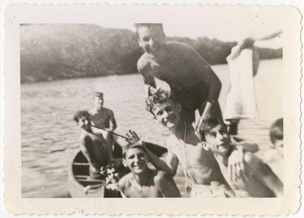 Boys canoeing at Camp Wakitan, from the Records of the Hebrew Orphan Asylum of the City of New York.