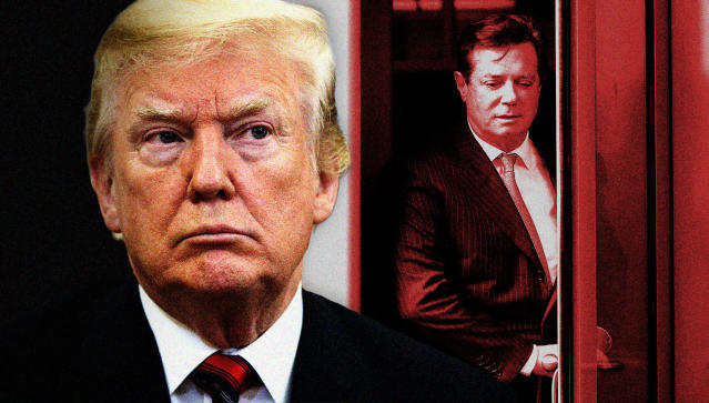 President Trump and his former campaign chairman Paul Manafort. (Photo illustration: Yahoo News; photos: AP, Pablo Martinez Monsivais/AP)