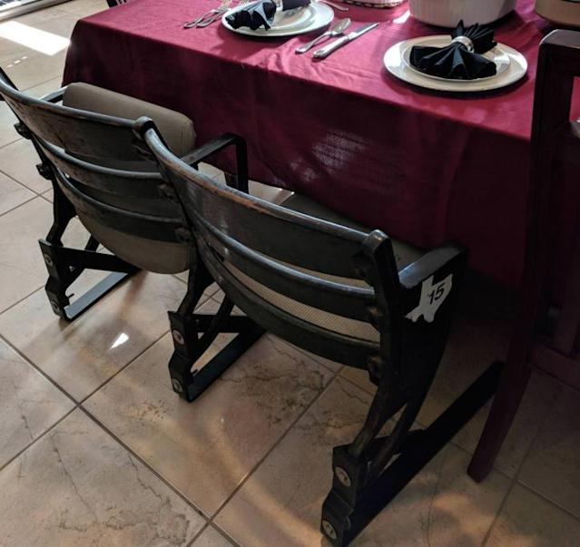 A pair of classic seats from the Houston Astrodome were used as chairs at one family's Thanksgiving dinner. (keener1899 on Reddit)