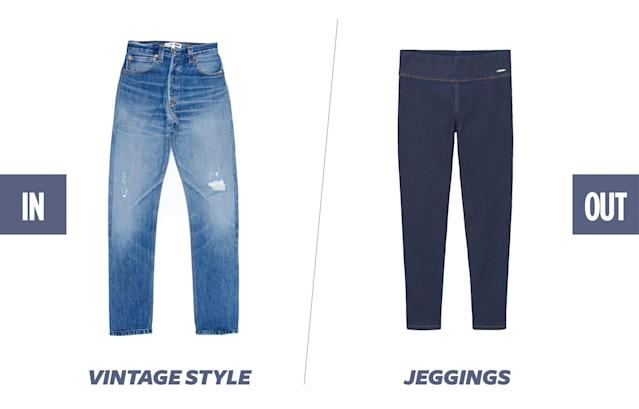 <p>Vintage-style jeans are still running strong. Fashionistas are continuing to flock to vintage stores for old-school Levi's 501s or shopping for new light-washed, high-rise-style jeans that have that perfect vintage wash and worn-in feel. (Photos: Re/Done; Mango) </p>