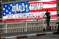Pro-Trump banner hung in Tel Aviv ahead of upcoming U.S. election