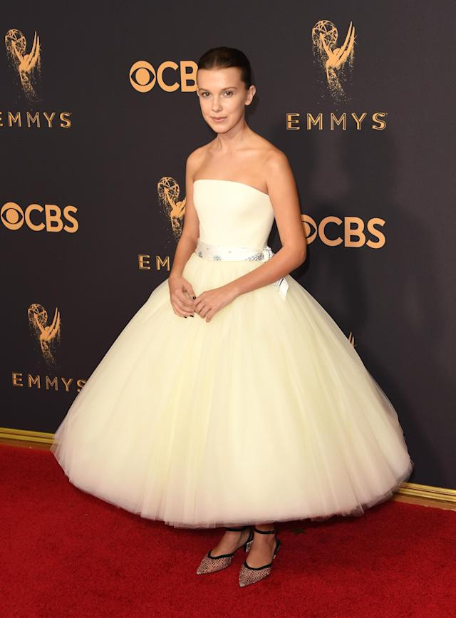 <p>Millie Bobby Brown, 13, had a princess moment in a white tulle gown with an ankle-length hemline. (Photo: Getty Images) </p>