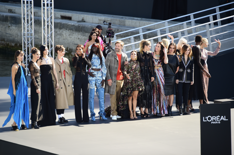 Model line up at L'Oreal Paris Fashion Week show. [Credit: L'Oreal]