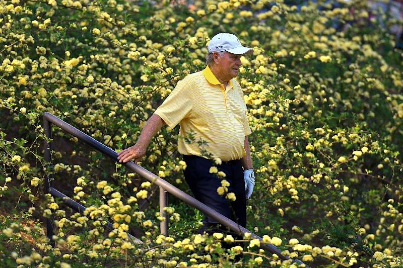 Jack Nicklaus makes his way along the eighth hole during the par-three contest before the Masters golf tournament, Wednesday, April 10, 2013, in Augusta, Ga. (AP Photo/Atlanta Journal-Constitution, Curtis Compton) MARIETTA DAILY OUT; GWINNETT DAILY POST OUT; LOCAL TV OUT; WXIA-TV OUT; WGCL-TV OUT