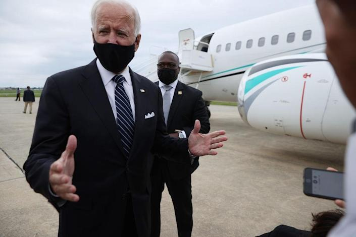 Democratic presidential nominee and former Vice President Joe Biden speaks briefly with journalists after returning to his home state at New Castle County Airport September 11, 2020 in New Castle, Delaware. (Photo by Chip Somodevilla/Getty Images)