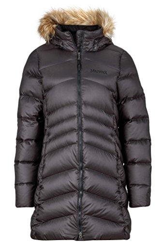"""<p><strong>Marmot</strong></p><p>amazon.com</p><p><strong>$285.00</strong></p><p><a href=""""https://www.amazon.com/dp/B075LG4HHV?tag=syn-yahoo-20&ascsubtag=%5Bartid%7C10055.g.2273%5Bsrc%7Cyahoo-us"""" target=""""_blank"""">Shop Now</a></p><p>Between its impressive <strong>700 fill power and its knee-length style</strong><strong>,</strong> this one's bound to keep you cozy in frigid temperatures without weighing you down. On top of that, the outer fabric is water-resisant and the <strong>down fill has been treated to prevent it from clumping if it gets wet.</strong> There's also a high neck with a removable faux fur collar, a two-way zipper and microfleece-lined pockets to keep your hands warm (genius!). </p><p><em>More details:</em><br>• Knee-length<br>• 700 fill power<br>• Removable hood and faux fur trim</p>"""