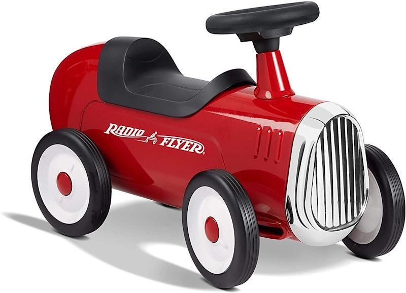 """They can hit the road (aka the sidewalk) with <a href=""""https://amzn.to/33QfpK2"""" target=""""_blank"""" rel=""""noopener noreferrer"""">this red roadster</a>featuringasteel body,chrome finishes, working steering wheel and honking horn. The rubber tires are supposed to be quiet, so the toy can be used outdoors and indoors.<a href=""""https://amzn.to/33QfpK2"""" target=""""_blank"""" rel=""""noopener noreferrer"""">Find it for $60 at Amazon</a>."""
