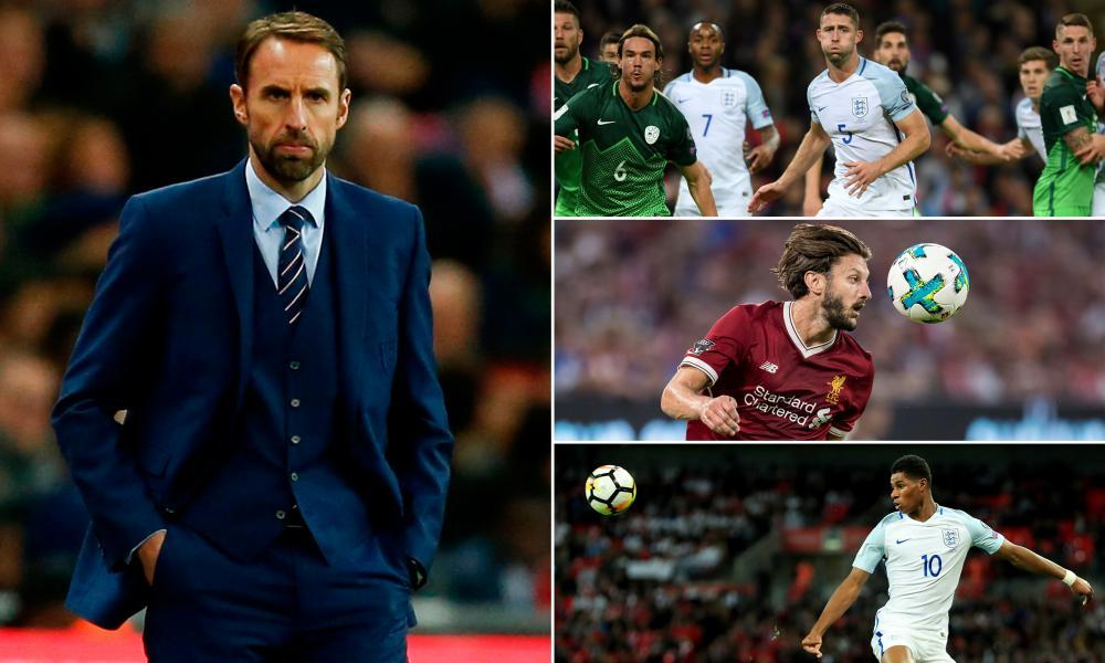 Clockwise from main: England's manager, Gareth Southgate, could benefit from using Gary Cahill in a back three, from the return of Adam Lallana and from Marcus Rashford gaining more Champions League experience.