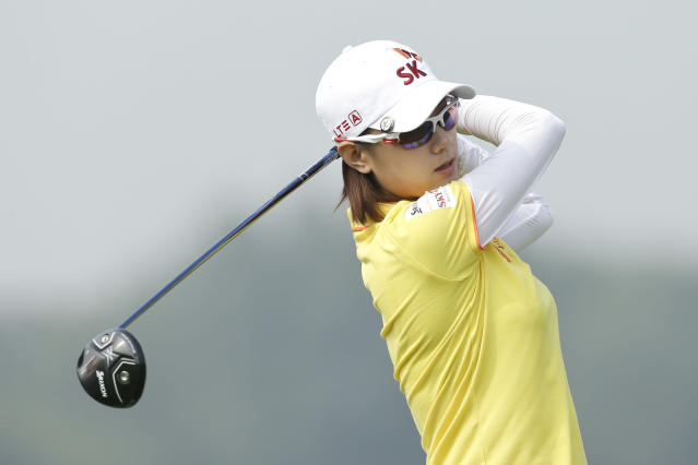 Na Yeon Choi, of South Korea, tees off on the forth hole during the second round of the Reignwood LPGA Classic golf tournament at Pine Valley Golf Club on the outskirts of Beijing, China, Friday, Oct. 4, 2013. (AP Photo/Alexander F. Yuan)