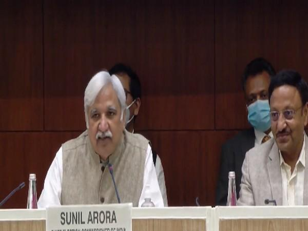Chief Election Commissioner Sunil Arora speaking at a press conference in New Delhi on Friday. [Photo/ANI]
