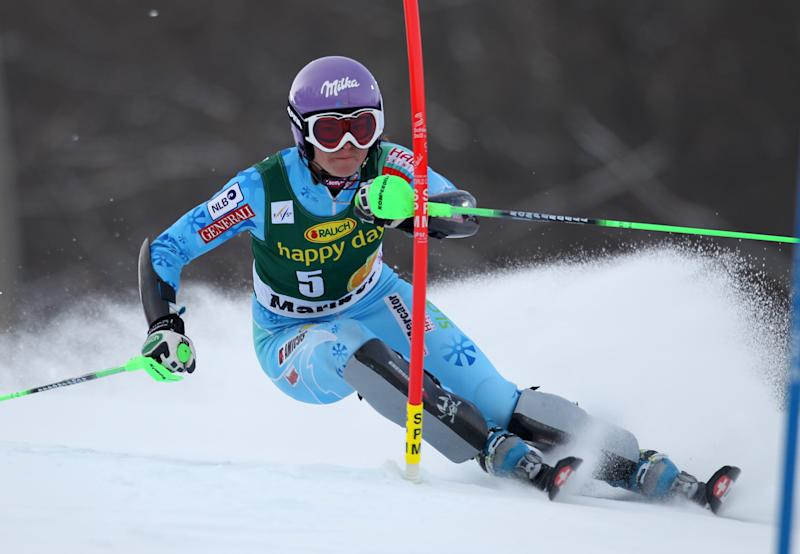 Slovenia's Tina Maze speeds down the course during the first run of an alpine ski, women's world Cup slalom, in Maribor, Slovenia, Sunday, Jan. 27, 2013. (AP Photo/Marco Trovati)