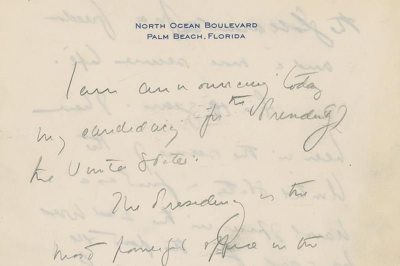 This December 2019, image released by RR Auction shows the top of the first page of a handwritten draft of the 1960 speech by John F. Kennedy announcing his intention to run for president. The draft is among hundreds of items associated with the late president to be auctioned in January 2020, by the Boston-based auction firm. (Nikki Brickett/RR Auction via AP)