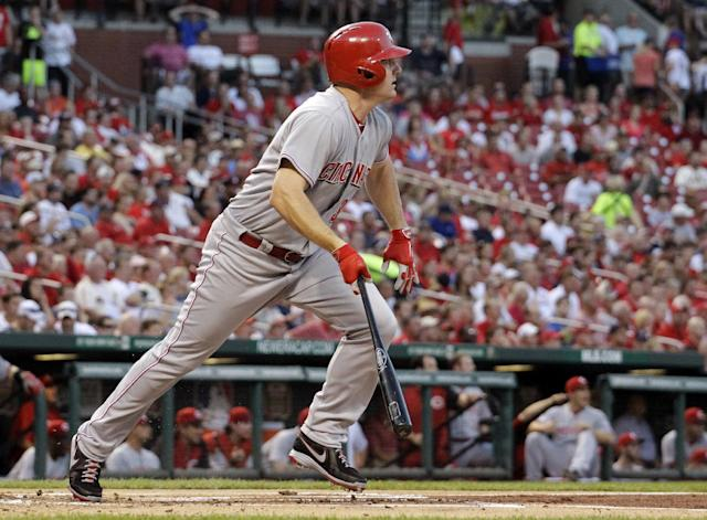 Cincinnati Reds' Jay Bruce watches his two-run single during the first inning of a baseball game against the St. Louis Cardinals Wednesday, Aug. 28, 2013, in St. Louis. (AP Photo/Jeff Roberson)