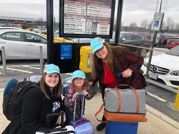 In their last trip before quarantining for coronavirus, Joanne H. Clough takes her daughter, Diane Roznowski, 23, and granddaughter, Carter Gens, 4, to visit Clough's brother near Juneau, Alaska, in March 2020. (Photo: Courtesy Joanne Clough)