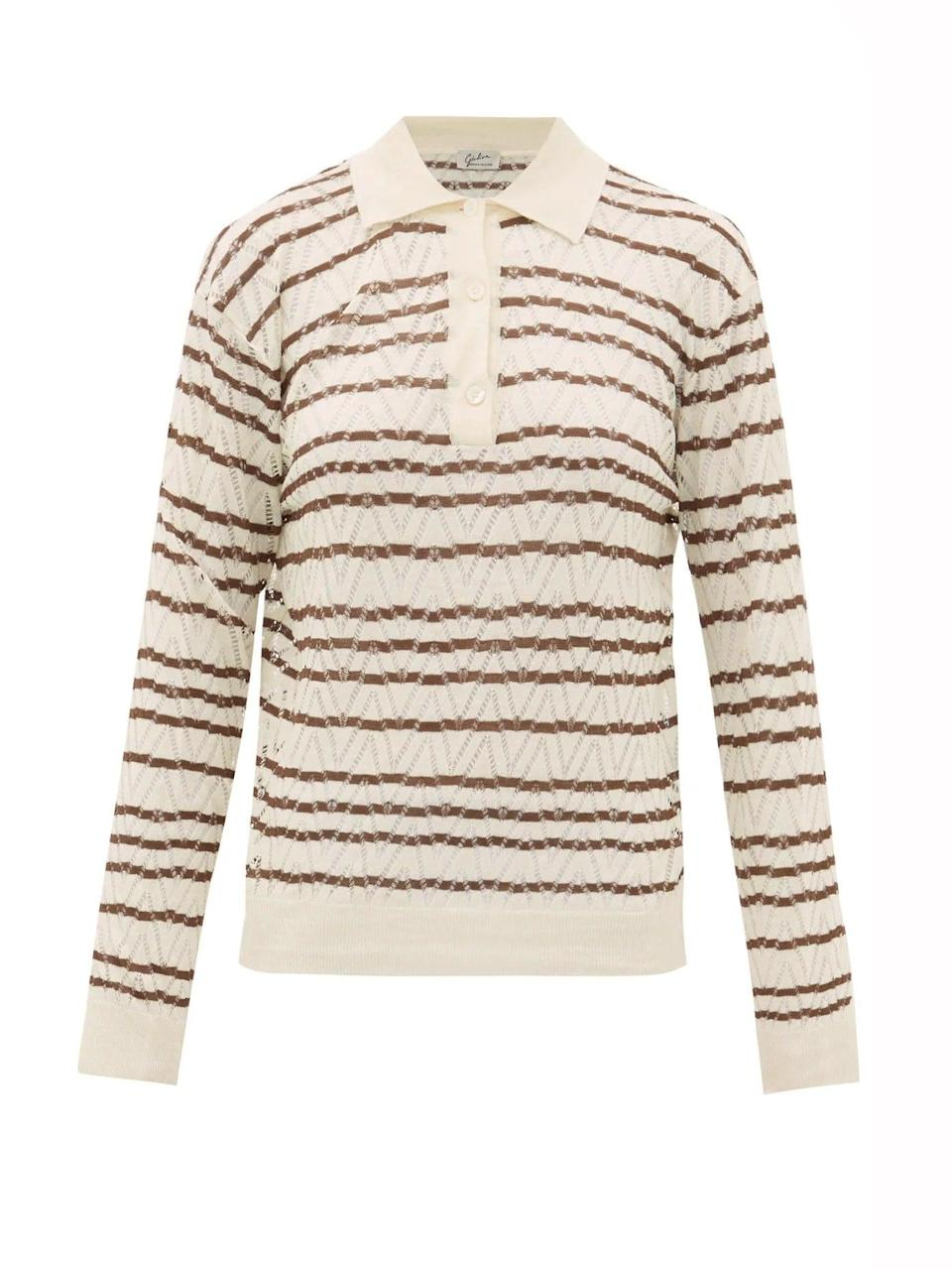 """<br><br><strong>Giuliva Heritage Collection</strong> The Emera Striped Silk-Blend Polo Shirt, $, available at <a href=""""https://www.matchesfashion.com/products/Giuliva-Heritage-Collection-The-Emera-striped-silk-blend-polo-shirt-1327418"""" rel=""""nofollow noopener"""" target=""""_blank"""" data-ylk=""""slk:Matches Fashion"""" class=""""link rapid-noclick-resp"""">Matches Fashion</a>"""