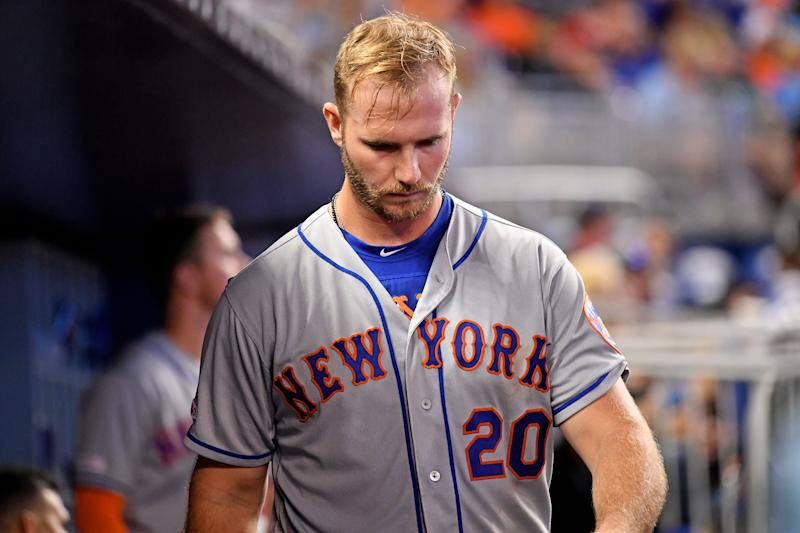 Jul 14, 2019; Miami, FL, USA; New York Mets first baseman Pete Alonso (20) walks through the dugout after striking out in the sixth inning against the Miami Marlins at Marlins Park. Mandatory Credit: Jasen Vinlove-USA TODAY Sports