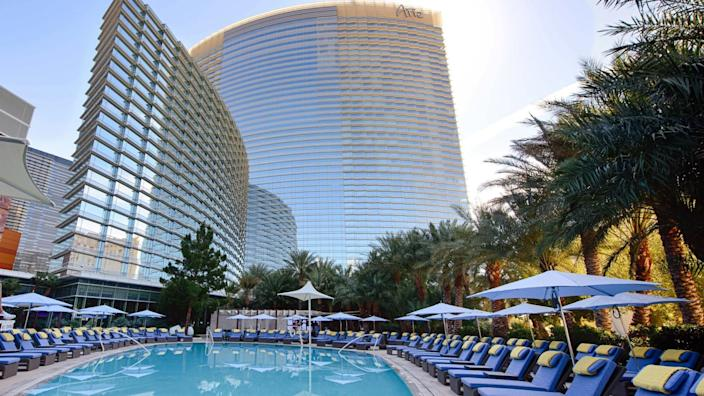 """After being closed since mid-March, the Sky Pool at Aria is reopening as the massive resort springs back to life. <span class=""""copyright"""">(MGM Resorts)</span>"""