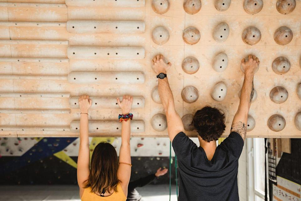 <p>If you do this at an indoor facility, when they're open, you can get hooked into the safety gear and scale a wall. If your date thinks Spiderman is sexy, they might think you are, too. </p>