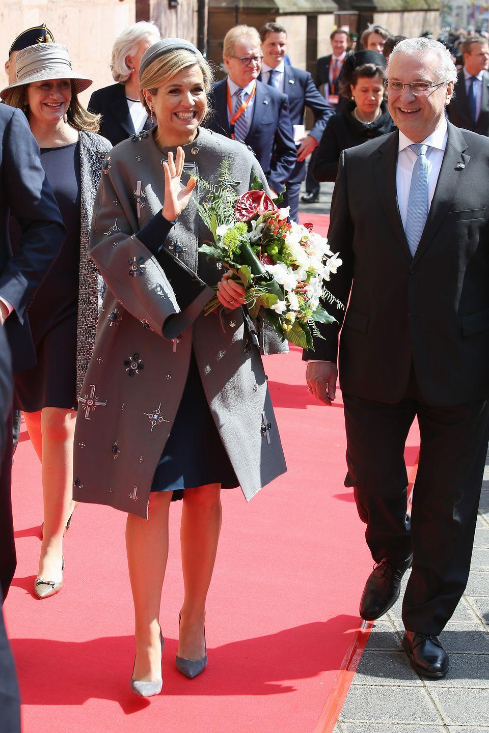 <p>Dutch is her third language after her native Spanish and English; her taste runs to both the contemporary and the conservative, like this jacket-and-hat combo for an official engagement in Germany this year. </p>