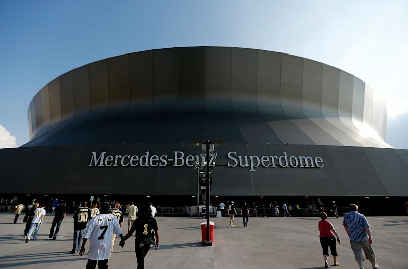 NEW ORLEANS, LA - AUGUST 15: An exterior view of the Superdome before the start of the first preseason game between the New Orleans Saints and the Tennessee Titans at the Mercedes-Benz Superdome on August 15, 2014 in New Orleans, Louisiana. (Photo by Stacy Revere/Getty Images)