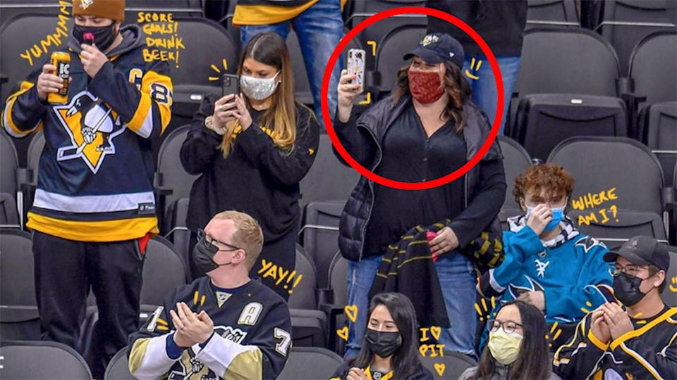 Seen here, one of the Pittsburgh Penguins fans whose face covering was photoshopped.