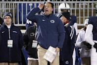 Penn State head coach James Franklin yells instructions from the sideline during the second half of an NCAA college football game against Michigan State in State College, Pa., Saturday, Nov. 29, 2014. Michigan State won 34-10. (AP Photo/Gene J. Puskar)