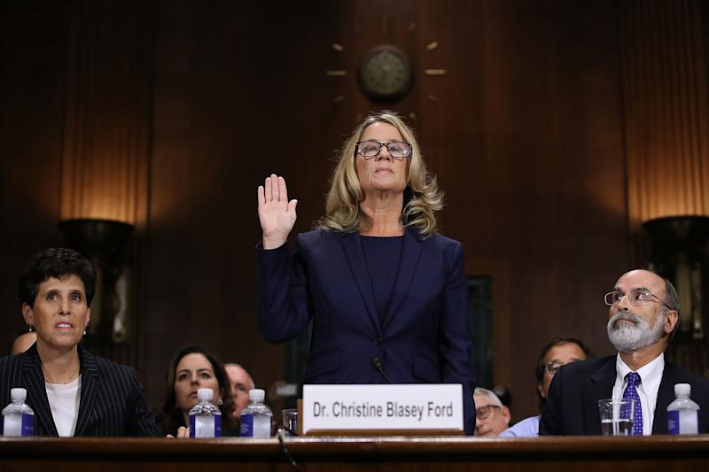 Christine Blasey Ford is sworn in before testifying the Senate Judiciary Committee on Sept. 27, 2018. (Win McNamee via Getty Images)
