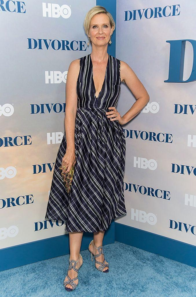 """<p>It's been a while since we've spotted the """"Sex and the City"""" star on the red carpet but she didn't disappoint in a polished blue and white number with matching strappy sandals. <i>(Photo by Gilbert Carrasquillo/FilmMagic)</i></p>"""