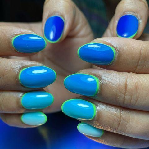 "<p>Paint your nails various shades of blue, but keep them all uniform with a lime green frame. This striking design looks flawless with an almond-shaped nail. </p><p><a class=""link rapid-noclick-resp"" href=""https://go.redirectingat.com?id=74968X1596630&url=https%3A%2F%2Fwww.walmart.com%2Fip%2FOPI-Infinite-Shine-2-Nail-Polish-To-The-Finish-Lime-0-50-oz%2F134185316&sref=https%3A%2F%2Fwww.goodhousekeeping.com%2Fbeauty%2Fnails%2Fg3186%2Fspring-nail-designs%2F"" rel=""nofollow noopener"" target=""_blank"" data-ylk=""slk:SHOP LIME GREEN POLISH"">SHOP LIME GREEN POLISH</a></p><p><a href=""https://www.instagram.com/p/CJxX1yoMFBd/&hidecaption=true"" rel=""nofollow noopener"" target=""_blank"" data-ylk=""slk:See the original post on Instagram"" class=""link rapid-noclick-resp"">See the original post on Instagram</a></p>"