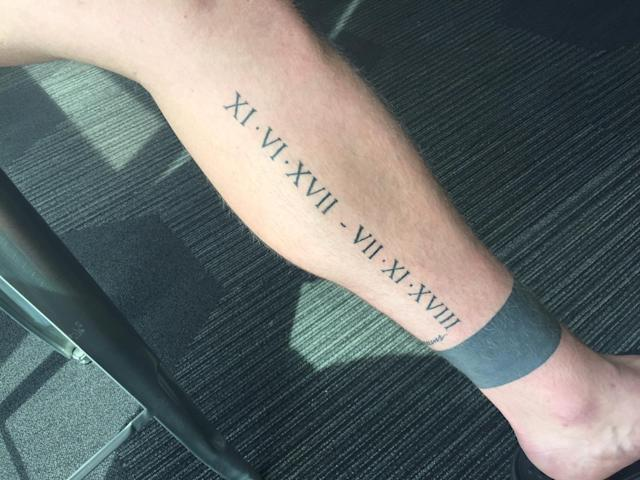Mason Stajduhar has a tattoo of the date of the completion of his bone cancer treatment on his left leg. (Eric Adelson)