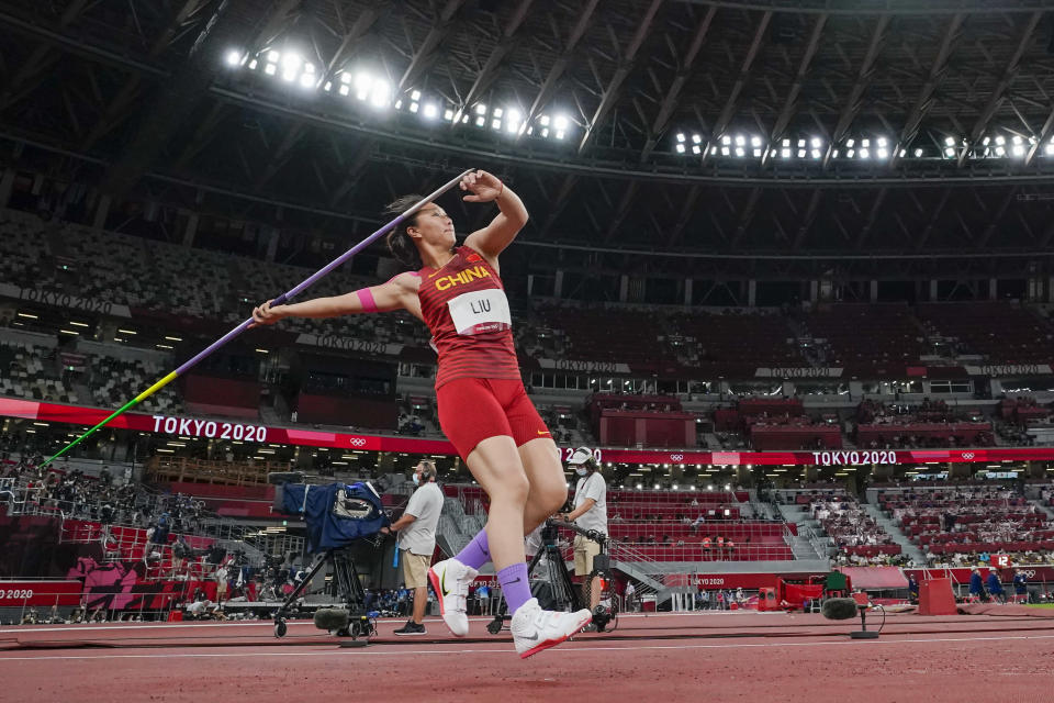 Shiying Liu, of China, competes in the women's javelin throw final at the 2020 Summer Olympics, Friday, Aug. 6, 2021, in Tokyo. (AP Photo/David J. Phillip)
