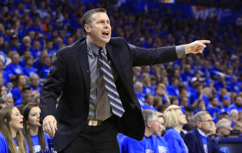 Memphis Grizzlies head coach David Joerger reacts to a call against his team as they play the Oklahoma City Thunder during the first quarter of Game 1 of the opening-round NBA basketball playoff series in Oklahoma City on Saturday, April 19, 2014. (AP Photo/Alonzo Adams)