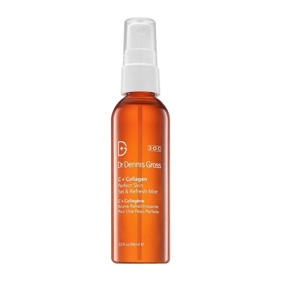"""<p>Face feeling parched come 3 p.m.? Refresh skin with a few quick hits of the antioxidant-packed Dr. Dennis Gross Skincare C + Collagen Perfect Skin Set & Refresh Mist. Its sweet but citrus-y scent will brighten your face — and your mood. Spray it on for an immediate pick me up.</p> <p><strong>$30</strong> (<a href=""""http://shop-links.co/1605504185745583805"""" rel=""""nofollow noopener"""" target=""""_blank"""" data-ylk=""""slk:Shop Now"""" class=""""link rapid-noclick-resp"""">Shop Now</a>)</p>"""