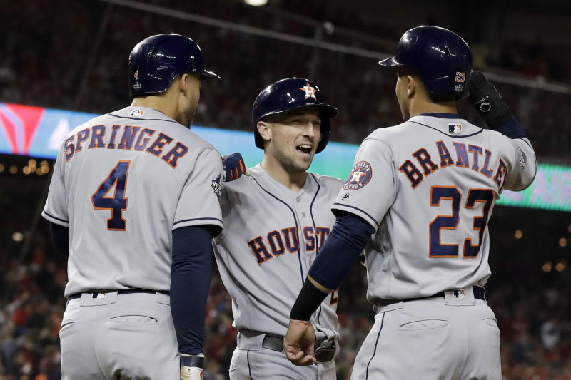 The Houston Astros are clicking on all cylinders again after winning Game 4 of the World Series. (AP Photo/Jeff Roberson)