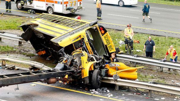 PHOTO: Multiple injuries have been reported after a serious crash between school bus carrying middle school students and dump truck on a New Jersey highway, according to police, May 17, 2018. (Magdeline Bassett/Asbury Park Press via USA TODAY NETWORK)