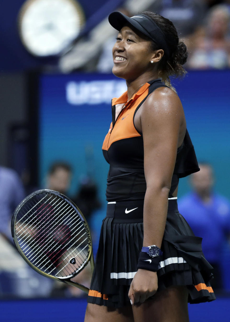 Naomi Osaka, of Japan, smiles after defeating Coco Gauff, of the United States, during the third round of the U.S. Open tennis tournament Saturday, Aug. 31, 2019, in New York. (AP Photo/Adam Hunger)