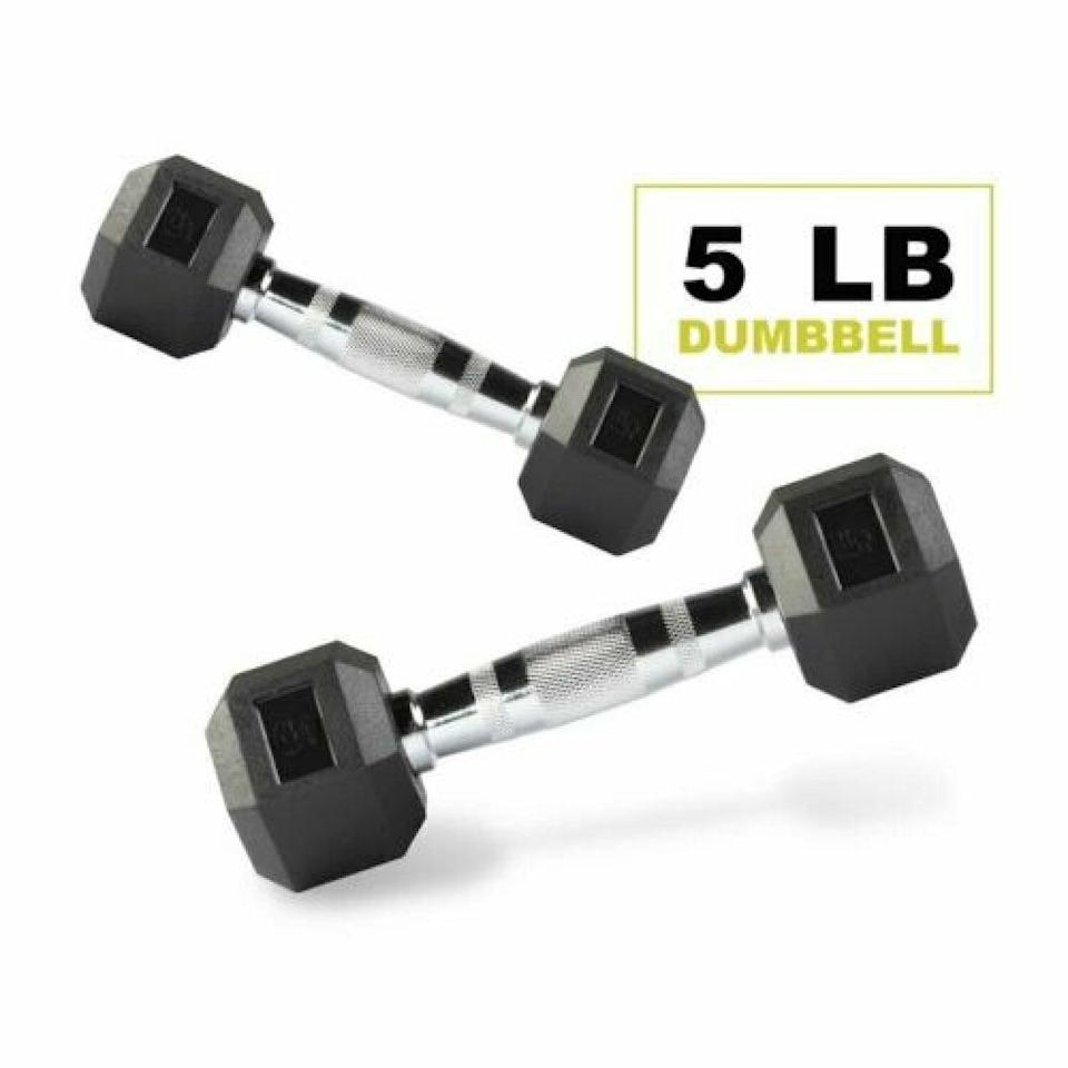 <p>These sturdy five-pound <span>PRCTZ: Encased Hex Dumbbells</span> ($19) have handles of steel.</p>