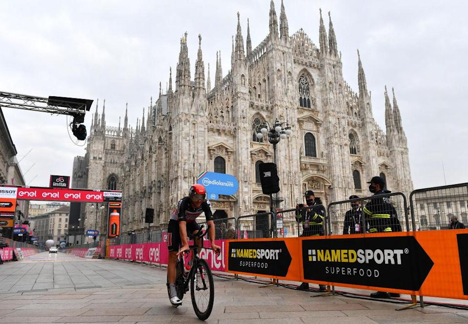MILANO ITALY  OCTOBER 25 Arrival  Adam Hansen of Australia and Team Lotto Soudal  Duomo di Milano  Milan Cathedral  during the 103rd Giro dItalia 2020 Stage 21 a 157km Individual time trial from Cernusco sul Naviglio to Milano  ITT  girodiitalia  Giro  on October 25 2020 in Milano Italy Photo by Stuart FranklinGetty Images