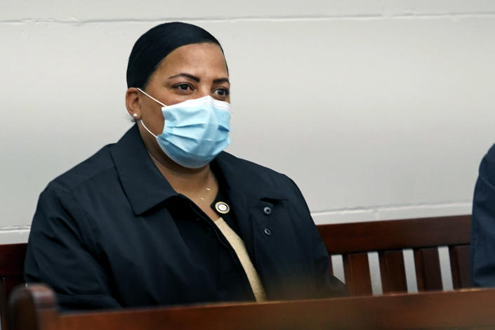 """Suffolk County District Attorney Rachael Rollins looks on from the gallery as Khaled Awad is arraigned on charges in the stabbing of a rabbi near a Jewish day school, in Brighton District Court in Boston, Friday July 2, 2021. Rabbi Shlomo Noginski is in """"stable condition and in good spirits"""" after being stabbed several times in the arm, Rabbi Dan Rodkin, executive director of Shaloh House, posted on Facebook. (Mary Schwalm/The Boston Herald via AP, Pool)"""