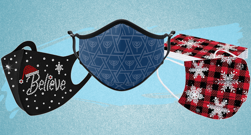 Bring some holiday cheer to your everyday outings with a holiday-themed face mask.