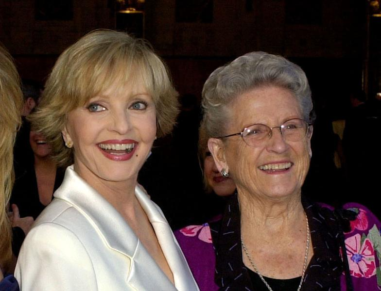 "FILE - In this March 16, 2003 file photo, ""The Brady Bunch"" cast members Florence Henderson, left, appears with Ann B. Davis at ABC's 50th Anniversary Celebration in Los Angeles. Henderson, who went from Broadway star to become one of America's most beloved television moms, died, Thursday, Nov. 24, 2016, in Los Angeles. She was 82. Davis, who became the country's favorite and most famous housekeeper, died in 2014 at 88. (AP Photo/Kevork Djansezian, File)"