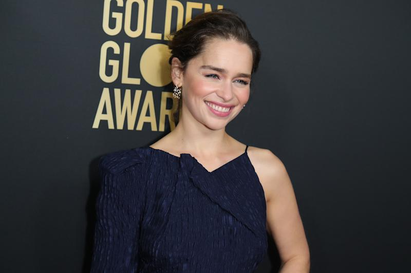 WEST HOLLYWOOD, CALIFORNIA - NOVEMBER 14: Emilia Clarke attends HFPA And THR Golden Globe Ambassador Party at Catch LA on November 14, 2019 in West Hollywood, California. (Photo by Leon Bennett/WireImage)
