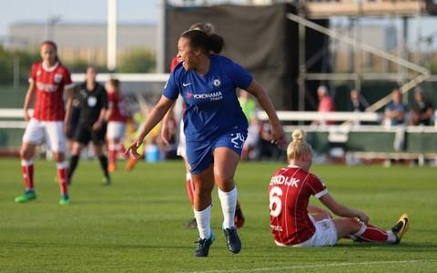 "Goals from Drew Spence and Jonna Anderson steered Chelsea Ladies to the Women's Super League title with a hard-fought 2-0 win over Bristol City. Spence headed Chelsea in front and Anderson fired in a late second to wrap up a domestic double after their FA Cup final win over Arsenal earlier this month. The Blues, led by assistant boss Paul Green with manager Emma Hayes advised not to travel at this stage of her pregnancy, were rarely troubled by the Vixens. Hayes' side, who are now just one game away from finishing the league season unbeaten, had never won a trophy prior to her arrival in 2012, but this is the second double of her tenure - matching their efforts from 2015. Chelsea captain Katie Chapman told BT Sport: ""It's great to be in this team. You can see what it means to the team. We performed really well this year and I think we deserved another double."" Drew Spence scored the first of two goals to beat Bristol City Credit: pa Chapman, who last week announced she would be retiring at the end of the season, added: ""To go out with two trophies is unreal. I love this team and I love this club and I think we're deserving of that. ""Hopefully we can go the whole (league) season unbeaten - so we've still got one game to go (against Liverpool on Sunday). ""I've loved ending my career at Chelsea. These girls are great and our team is fantastic. What an honour for me to play in a team like this and to do the double with them."""