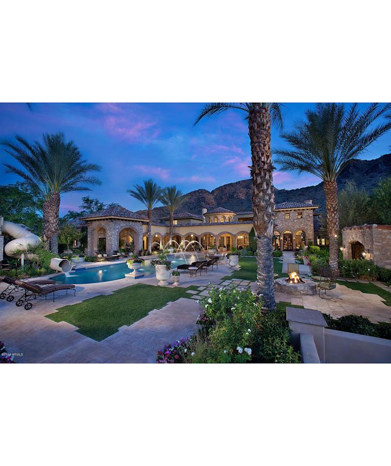 """<p>Price: $20 million<br /> <br /> Step into this five-acre estate and you'll feel as though you've been transported to a Mediterranean getaway. Nestled in the heart of Paradise Valley at the base of Mummy Mountain, this manor is perfectly positioned to take in the spectacular valley views. This estate is truly luxurious and featuresa guesthouse, 1,800-square-foot fitness facility, a tennis court, and a private movie theater with tiered seating. With a hot tub, sauna, and jetted tub, this retreat offers countless ways to unwind. For the music lover, practice in the comfort of your own home with an ultra-modern music studio and a custom-designed instrument showroom. And there's no need to worry about communicating across the25,000-square-foot house—just use thebuilt-in intercom.<br /> <br /> <strong>RELATED: <a rel=""""nofollow"""" href=""""http://www.realsimple.com/syndication/donald-trump-tower-white-house"""">Zillow Put a Price Tag on the White House—And It's Not Cheap</a></strong></p>"""