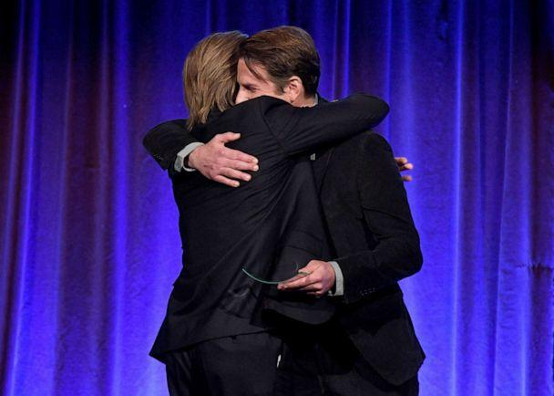 PHOTO: Brad Pitt, left, and Bradley Cooper embrace onstage during The National Board of Review Annual Awards Gala at Cipriani 42nd Street on Jan. 08, 2020, in New York City. (Dimitrios Kambouris/Getty Images for National Board of Review)