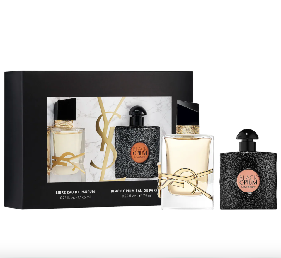 """<p><strong>Yves Saint Laurent</strong></p><p>sephora.com</p><p><strong>$30.00</strong></p><p><a href=""""https://go.redirectingat.com?id=74968X1596630&url=https%3A%2F%2Fwww.sephora.com%2Fproduct%2Fyves-saint-laurent-mini-black-opium-libre-eau-de-parfum-duo-P470257&sref=https%3A%2F%2Fwww.prevention.com%2Fbeauty%2Fg37724897%2Fbest-perfume-gift-sets%2F"""" rel=""""nofollow noopener"""" target=""""_blank"""" data-ylk=""""slk:Shop Now"""" class=""""link rapid-noclick-resp"""">Shop Now</a></p><p>For only $30 you can discover a whole new world of fragrance. Libre has <strong>notes of lavender, orange blossom, and musk</strong>, whereas Opium is more seductive and warm emanating coffee, white flowers, and vanilla. """"I get tons of compliments,"""" one Sephora reviewer wrote. """"If you are looking for a small perfume to carry around this is definitely it.""""</p>"""