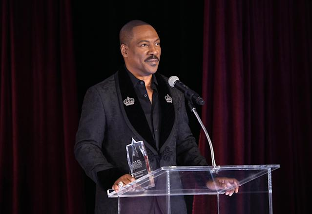 Eddie Murphy speaks onstage during Critics' Choice Association's Celebration of Black Cinema at Landmark Annex on December 02, 2019 in Los Angeles, California. (Photo by Michael Kovac/Getty Images for Niche Imports)