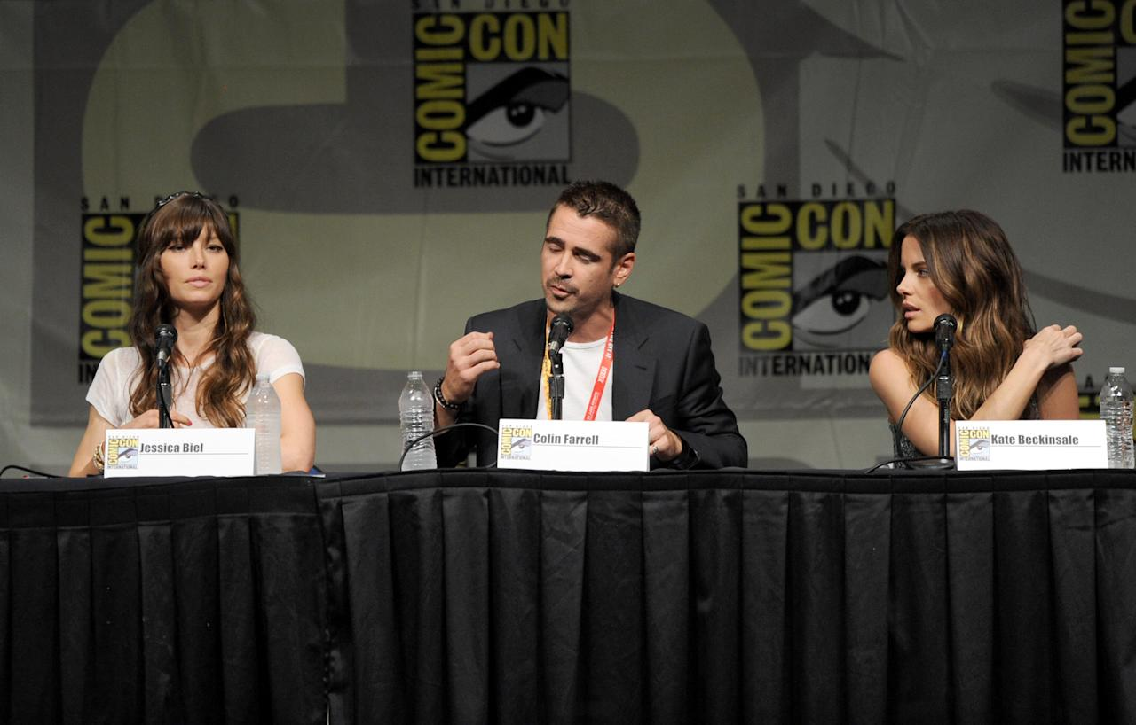 """SAN DIEGO, CA - JULY 13:  (L-R) Actors Jessica Biel, Colin Farrell, and Kate Beckinsale speak during Sony's """"Total Recall"""" panel during Comic-Con International 2012 at San Diego Convention Center on July 13, 2012 in San Diego, California.  (Photo by Kevin Winter/Getty Images)"""