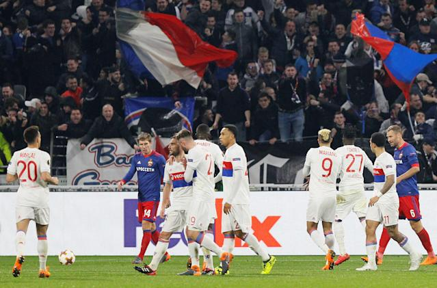 Soccer Football - Europa League Round of 16 Second Leg - Olympique Lyonnais vs CSKA Moscow - Groupama Stadium, Lyon, France - March 15, 2018 Lyon's Maxwel Cornet celebrates with team mates after scoring their first goal REUTERS/Emmanuel Foudrot